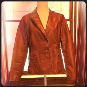 Brown faux leather blazer jacket